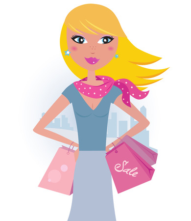 Shopping in the city: Blond shopper girl with pink bags Stock Vector - 8821584