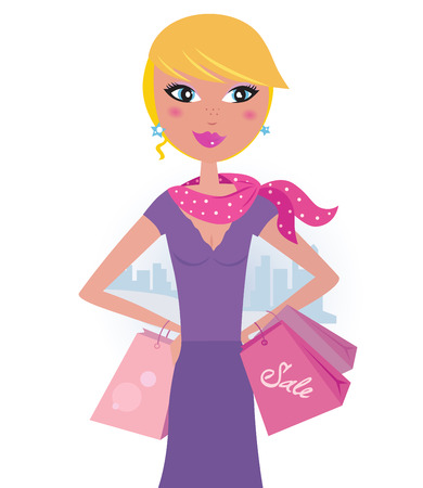 blonde teenage girl: Happy blond woman on shopping in the city Illustration