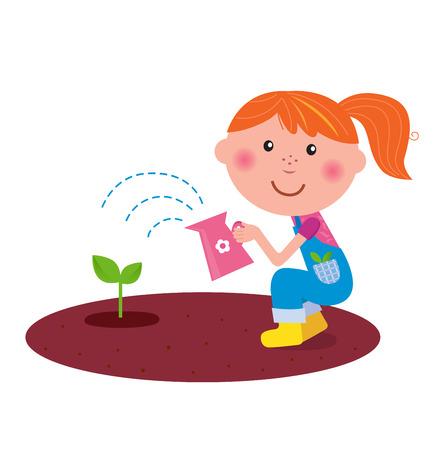watering: Kleine tuin man meisje Bewateren van planten in de tuin