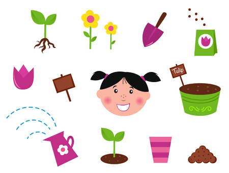 kids garden: Garden, spring &amp, nature icons and elements - green and purple