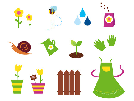 watering pot: Spring, garden &amp, agriculture symbols and elements - green, yellow and pink