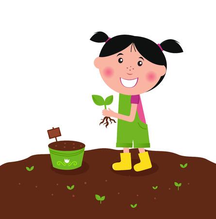 gardener: Happy kid is planting small plants on farm  Illustration
