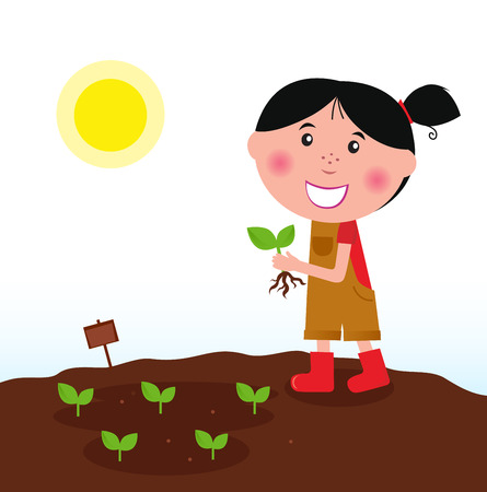 Gardening girl in red boots with green plant Vector