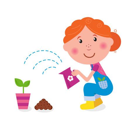 regando el jardin: Ni�a es regar plantas en el jard�n
