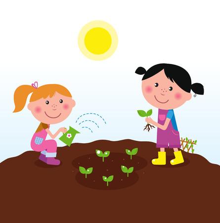watering: Twee gelukkige jonge geitjes drenken en planten planten in de tuin  Stock Illustratie