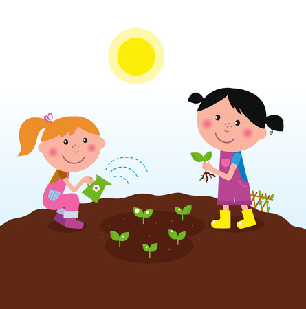 woman gardening: Two happy kids watering and planting plants in the garden  Illustration