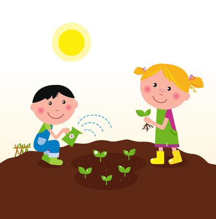 Dos niños felices de riego y siembra de plantas en el jardín. Ilustración de vector