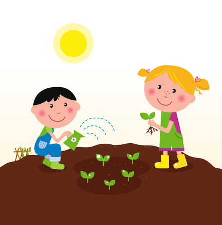 Two happy kids watering and planting plants in the garden. Vector