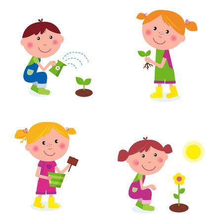Colección de los niños de jardinería