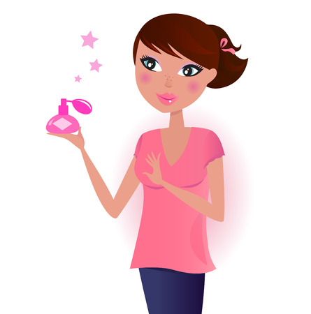 perfume spray: Girl in pink with perfume bottle