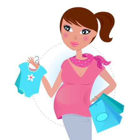 Pregnant mom on shopping for baby boy  Vector