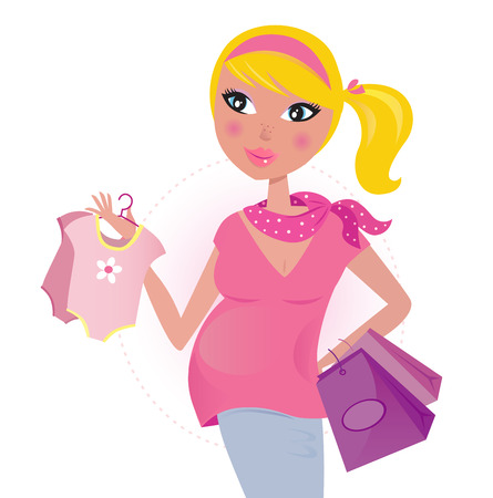 Pregnant mom on shopping for child  baby girl  Vector