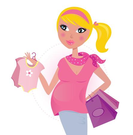 Schwangere Mutter �ber shopping f�r Kinder  baby Girl  Illustration