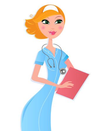 chirurg: Sexy Krankenschwester mit Dokument isolated on white Background. Vektor-Illustration.