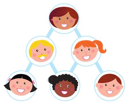 piramide humana: Trabajo en equipo y apoyo: pir�mide humana. Ilustraci�n vectorial.