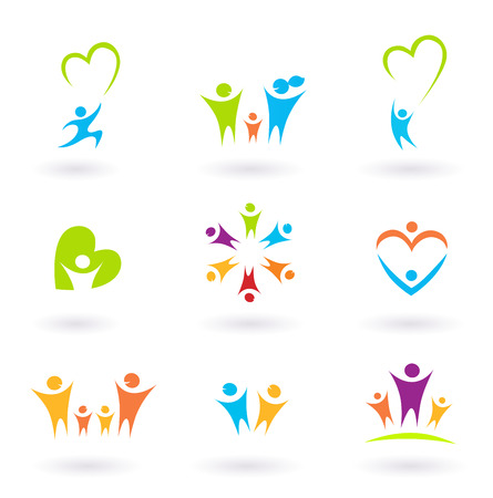 comunidades: Ni�os, familia, comunidad y protecci�n iconos y s�mbolos  Vectores