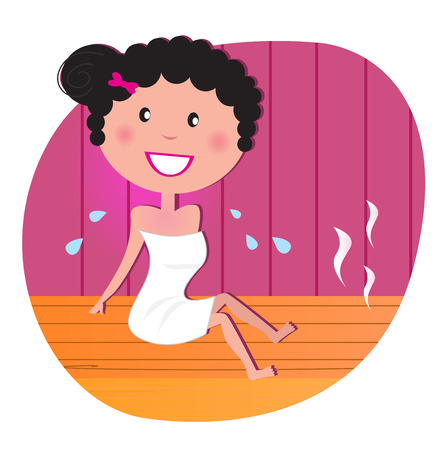 perspiration: Health and spa: Happy smiling woman relaxing in infrared sauna. Vector Illustration.
