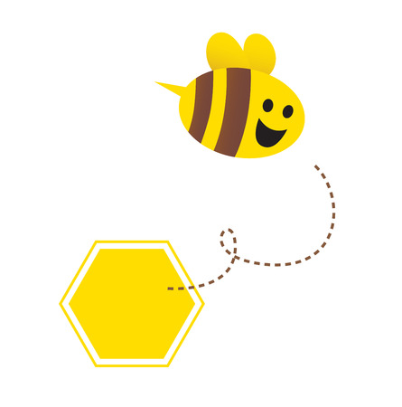 buzz: Little flying honey bee ( with yellow and brown stripes ). Vector Illustration