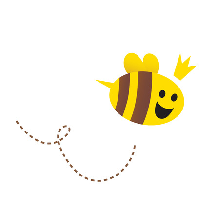abeja caricatura: Madre  Queen bee aislada sobre fondo blanco. Ilustración vectorial.