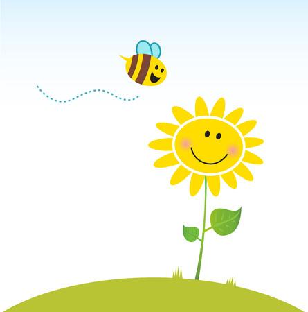 4월: Spring & nature: Happy yellow flower with bee. Vector