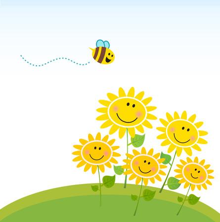 wesp: Cute gele honingbij met groep van bloemen. Vector