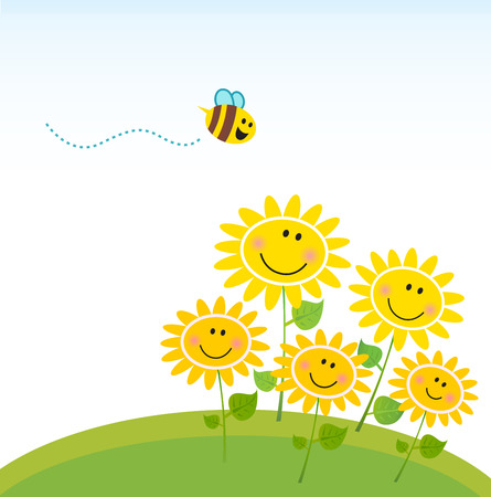 bumblebee: Cute yellow honey bee with group of flowers. Vector
