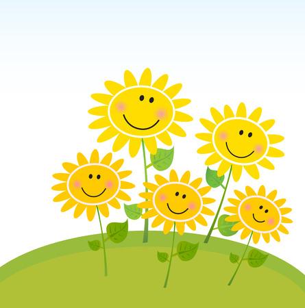 Happy yellow Spring Sunflowers in Garden. Vector Illustration.