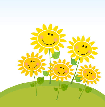 Happy yellow Spring Sunflowers in Garden. Vector Illustration. Vector