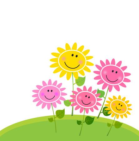 Felice il giardino di fiori di primavera. Illustrazione vettoriale.