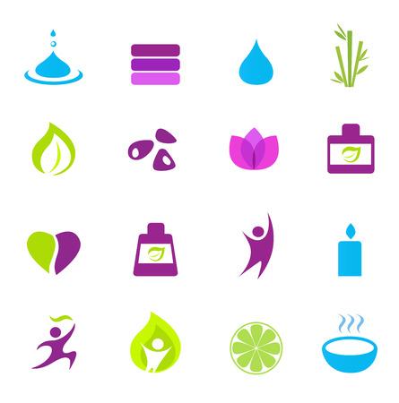 zen vector: Water, wellness, nature and zen icons - pink, green, blue. Vector Illustration