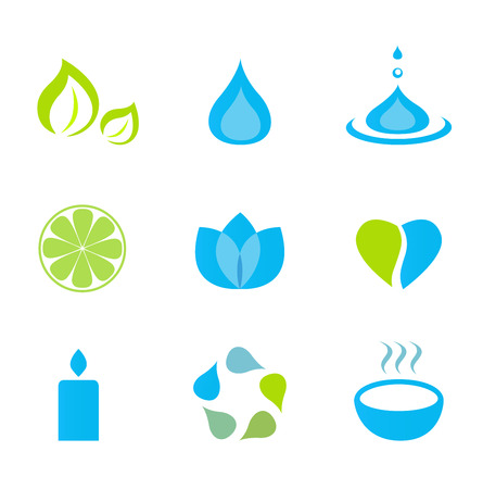 warming therapy: Water, nature and wellness icons - green and blue. Vector Illustration.