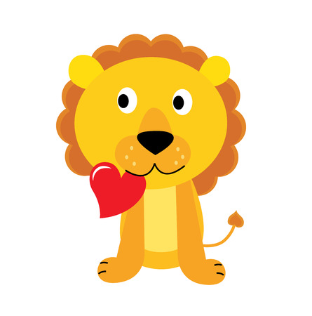 valentine cat: Cute little lion with red heart isolated on white. Vector Illustration.