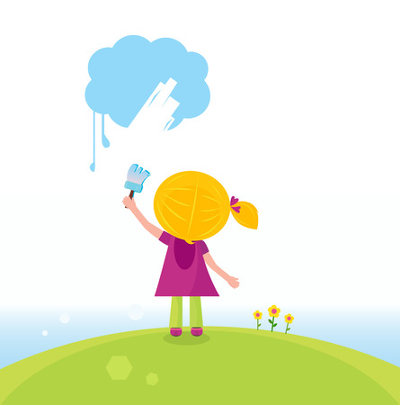Little artist kid painting on the sky in spring nature. Vector