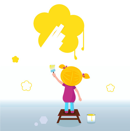 Little kid painting yellow spring Flower on the Wall. Vector Vector