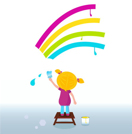 Pequeña artista - niño lindo pintura arco iris en la pared. Vector Vectores