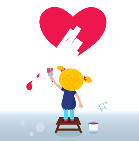 Little artist - cute girl painting red Heart on the Wall. Vector Vector
