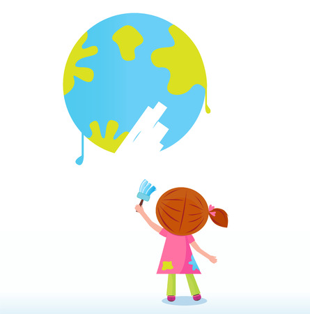 environment geography: Little artist - child painting Earth ( planet, globe ). Vector Illustration