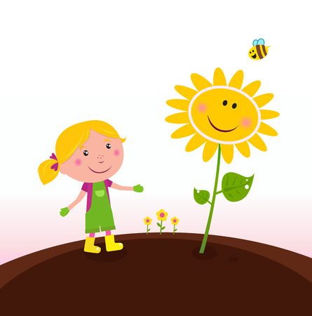 Spring gardening : Gardener child with sunflower in the garden Vector