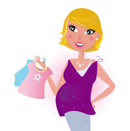 Cute blond hair Mom shopping dress for her new baby - Vector Vector