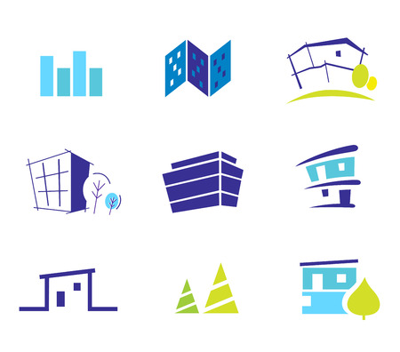architecture logo: Icon collection for modern houses inspired by nature and simplicity. Vector Illustration. Illustration
