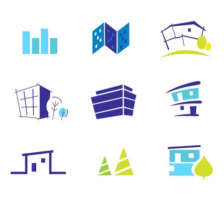 modern huis: Icoon collectie voor moderne huizen geïnspireerd door aard en eenvoud. Vectorillustratie. Stock Illustratie