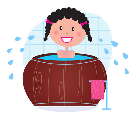 A woman soaking in whirlpool  cold barrel tub after sauna. Vector Vector