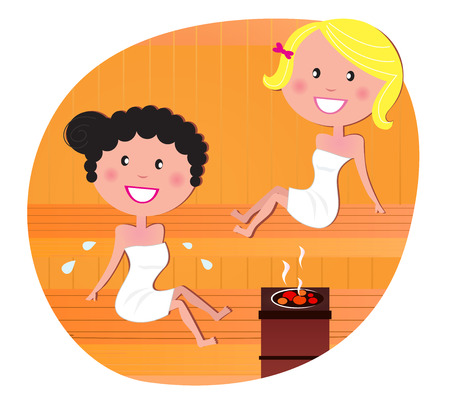 pampering: Cute women  friends relaxing in a hot sauna. Vector Illustration