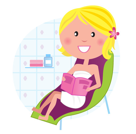 Wellness & spa: Woman relaxing on the lounge chair. Vector Stock Vector - 9063583