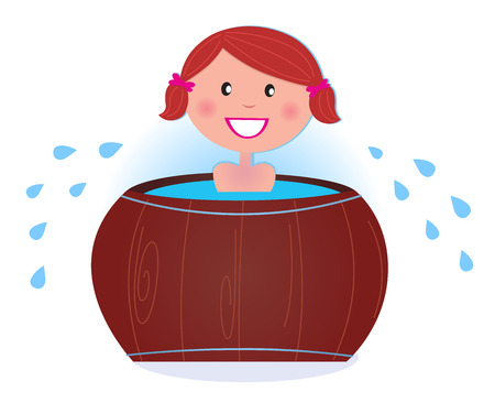Cute smiling girl bathing in barrel tub. Vector Illustration. Vector
