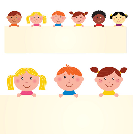 Six multicultural children with blank banner. Vector Illustration. Vector