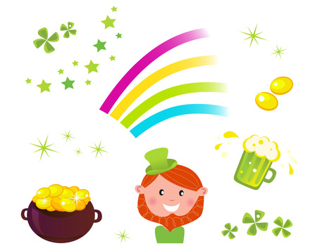 Icons set of St. Patricks Day design elements - cauldron with coins, four leaf clovers, green beer, rainbow and Leprechaun.  Vector