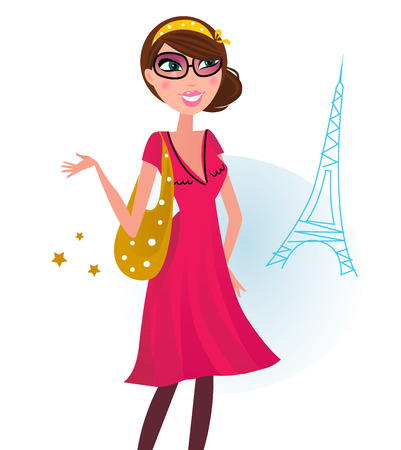 Woman in romance red dress with shopping bag in Paris. Illustration. Vector