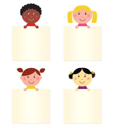 hispanic boy: Four cute children with blank banners. Illustration. Illustration