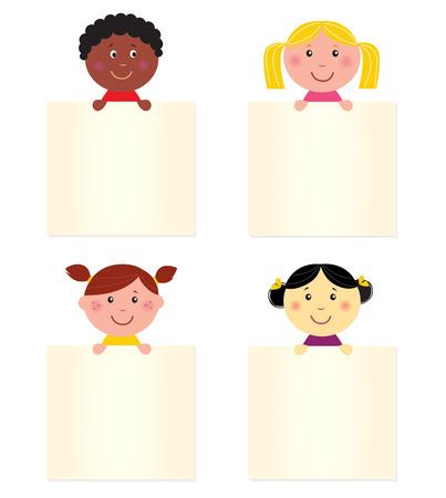 uitnodigen: Vier schattige kinderen met lege banners. Illustratie.